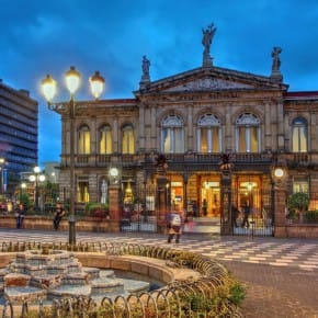 Night scene of the square in front of the National Theatre of Costa Rica in San Jose at twilight time.