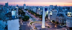 View over Avenida 9 Julio and the obelisk in Plaza Republica:: Buenos Aires:: Argentina.